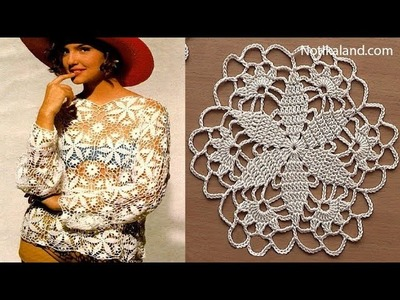 Crochet pattern Crochet motif for blouse tunic Part 1