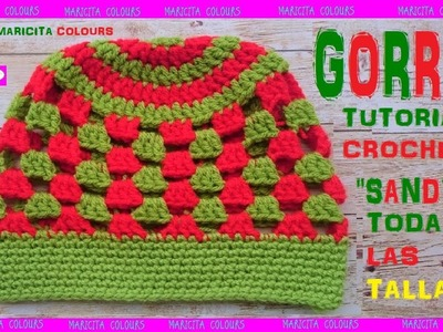 "DIY. GORRO  Tapestry con TALLAS a Crochet ""Sandy"" por Maricita Colours"