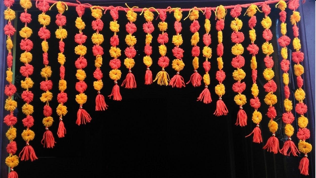 DIY, Handmade toran, Door Hanging Toran From Woolen Very Easy, How to Make Wool Toran