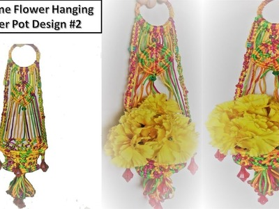 DIY How to Make Wall Hanging Flower Pot with macrame New Design #2