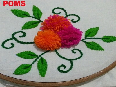 Hand embroidery.How to make Pom Pom flowers.Embroidery work.Disha Handwork Gallery#13