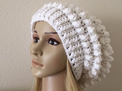 How To Crochet A Popcorn Stitch Slouchy Hat, Lilu's Handmade Corner Video # 177
