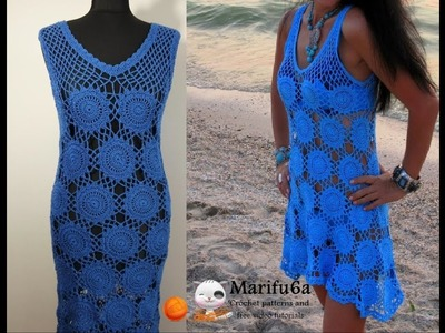 How to crochet blue dress with motifs all sizes free tutorial by marifu6a