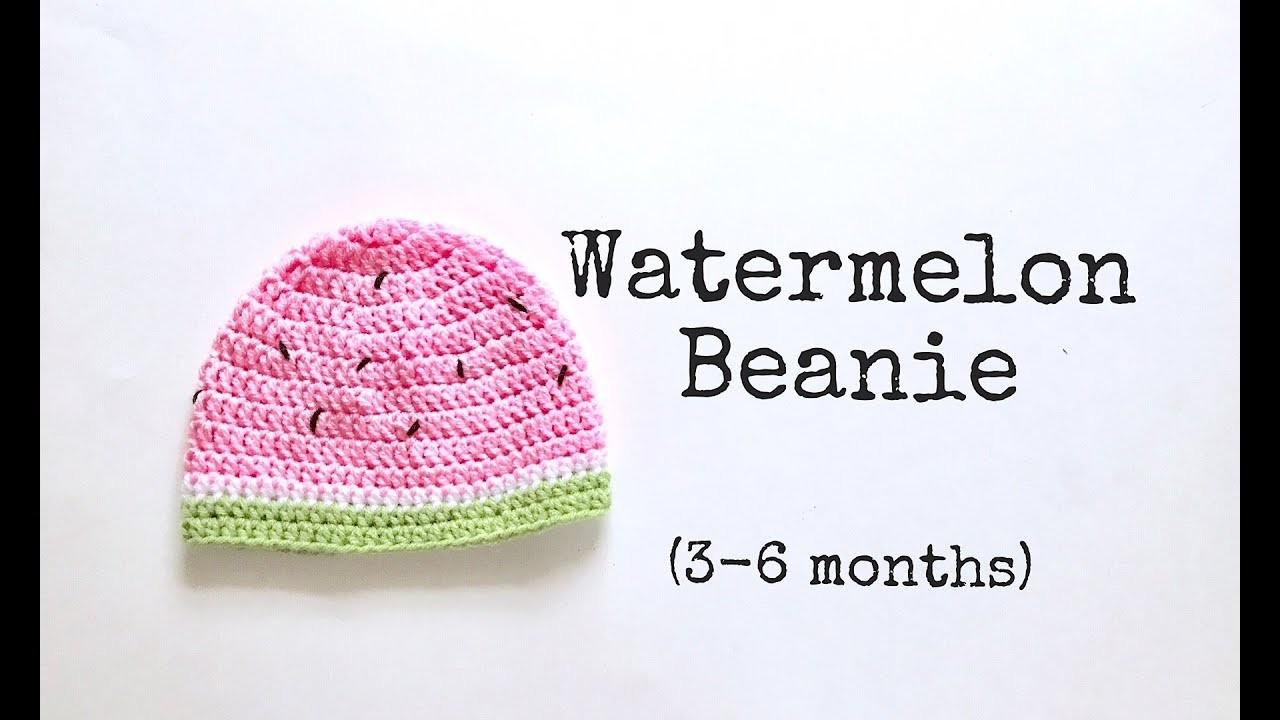 How to Crochet Watermelon Beanie. Crochet simple beanie (3-6 month)