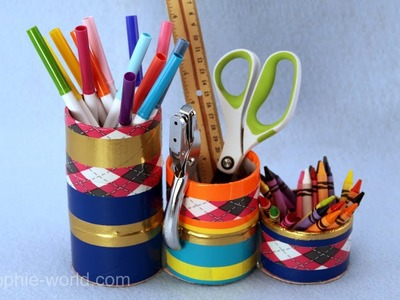 How to Make a Desk Organizer out of the End of the Roll of Duct Tape | Sophie's World