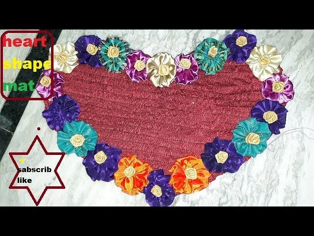 How to Make beautiful heart shape doormat  at home to use cut pices cloth.4 style doormat design tut