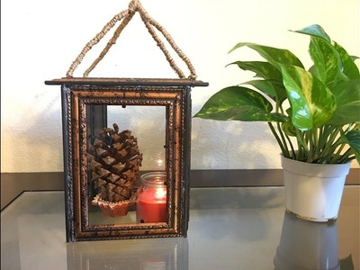 How to make Candle Lantern from photo frame, DIY