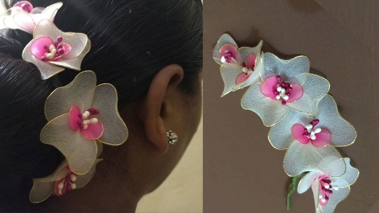 How To Make Hair Brooch Simple Stocking Flowers Making