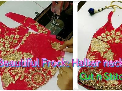 How to make Halter neck design|| Beautiful baby frock|| Backless design