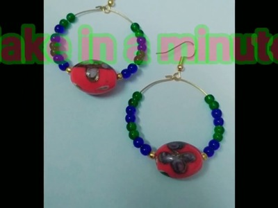 How to make hoops with coloured glass beads,DIY