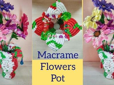 "How To Make "" Macrame Flower Pot. Macrame Flower Vase "" Without Using Ball !! Full making video"