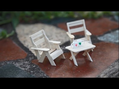 How to Make Miniature Table and Chairs Using Popsicle Stick - Model 2
