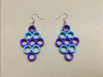 How to make paper quilled earrings at home. easy paper jewellery