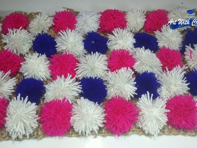 How to make Pom Pom Ball rugs, carpet, table mat  door mat | Art With Creation