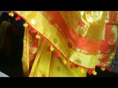How to make pom-pom less in Saree at home. .