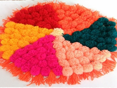 How to make Pom Pom  Rug, Table mat, Carpet, Doormat Home Decor ideas