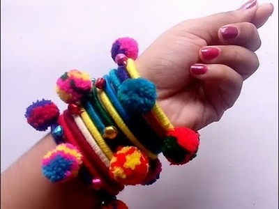 How to make pom poms bangles with cotton threads step by step.recycle old bangles into new