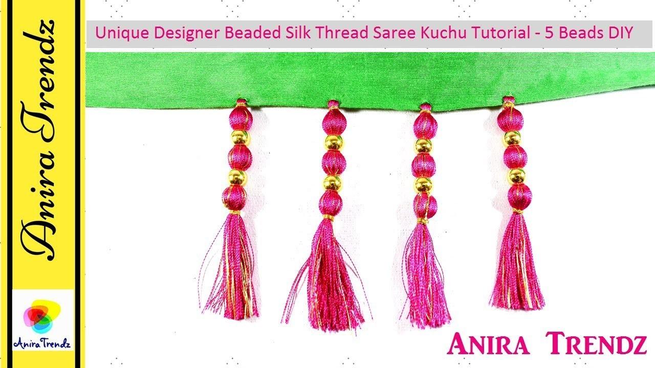 How To Make Saree Kuchu Design Using Silk Thread 5 Beads Beaded Design At Home Tutorial My
