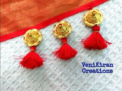 How to Make Saree Tassel.Kuchu design with Beads @ Home - Design 26::Tutorial