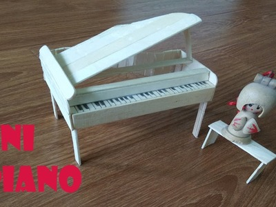 How to make tiny piano for doll from icecream sticks - dollhouse miniature craft