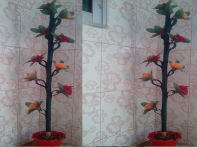 How to make wool pom pom flower  plant. tree. Making marigold  flower.