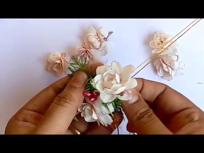 How to string jasmine  and Nandhivardhanam.Chandni Flower with leaves