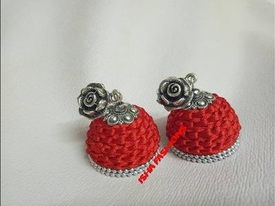 Isha Fashions | How to make a Crochet jumka Silk thread jewellery Tutorial