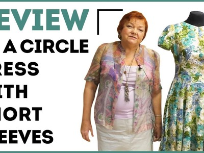 Review of a circle dress with short sleeves. How to make sleeves with the folds. Sewing tutorial.