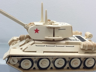 3D Wood Craft Construction Kit, How to make a wooden T-34 Tank