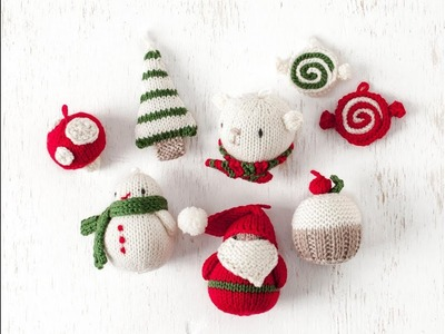 Amigurumi Christmas Ornament Set Knitting KIT - Christmas Ornament Pattern + Yarn