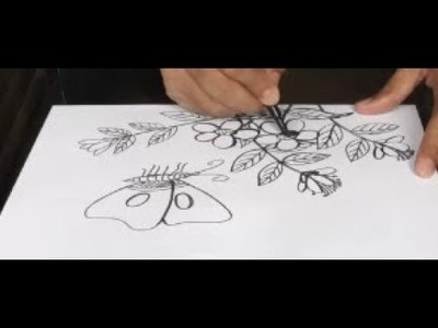 Art & Craft: How to Draw Flower with Butterfly ফুল ও প্রজাপতি অংকন