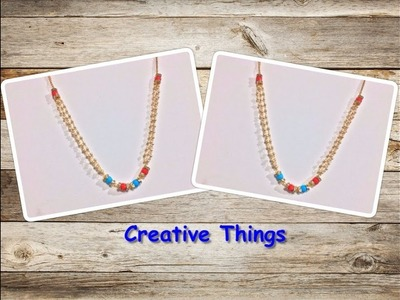 Designer Necklace || How To Make Pearl Link Chain Necklace At Home || Creative Things