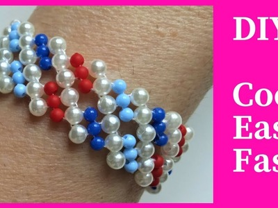 DIY bracelet with 4 colors of beads. How to make a beautiful bracelet super easy