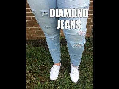 DIY DIAMOND + LACE DESIGNER RIPPED JEANS: How to Make Your Own Designer Jeans
