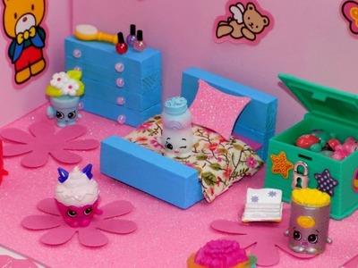 DIY Miniature Dollhouse Girly Shopkins Bedroom - How to Make LPS Crafts & Miniature Dollhouse Things