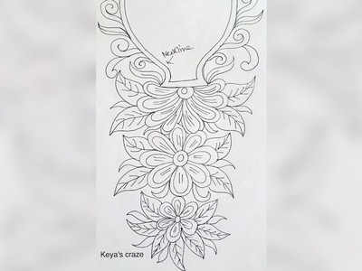 Hand embrodiary design | How to draw an easy neckline design for hand embroidery | 115