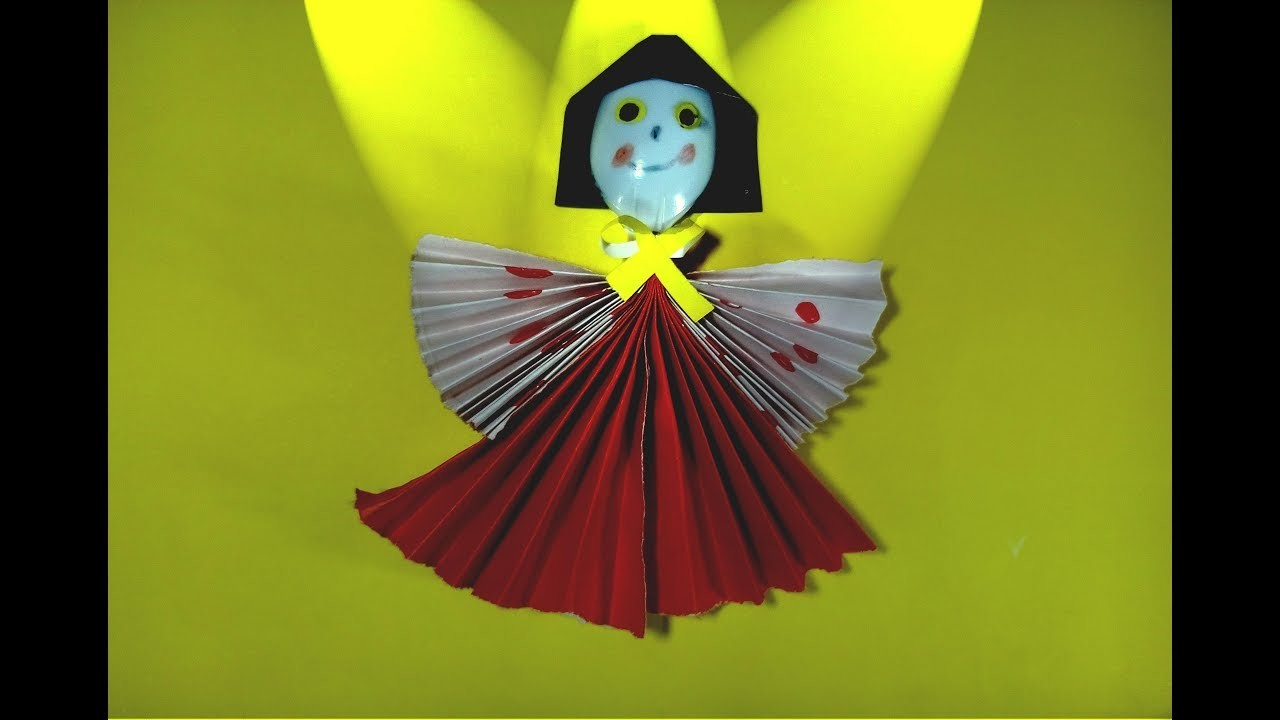 Homemade doll | How to Make Amazing Dancing Doll from plastic spoon | Diy paper craft by TrendyCraft
