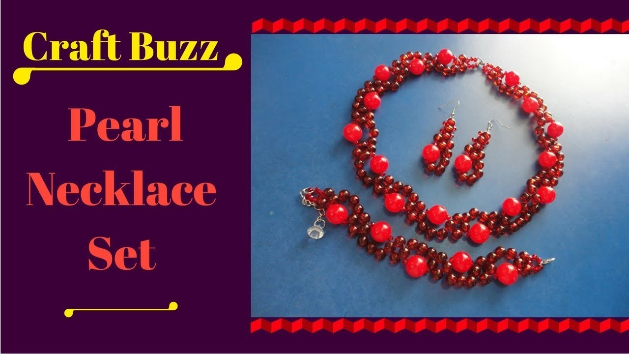 Homemade Pearl Necklace Set  ???? How To Make Pearl Designer Necklace , Bracelet And Earrings Set