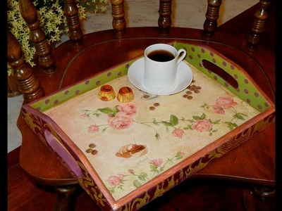 How to Decoupage and Vintage an Unfinished Wood Tray ---Crackled Tray Project