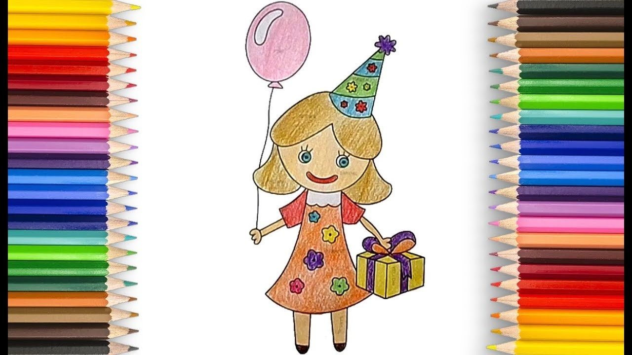How to Draw a Girl with Gift and balloon Step by Step for Children - Learn to Draw for Kids Toddlers