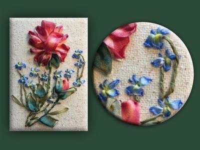 How to embroider a silk ribbon lobelia group