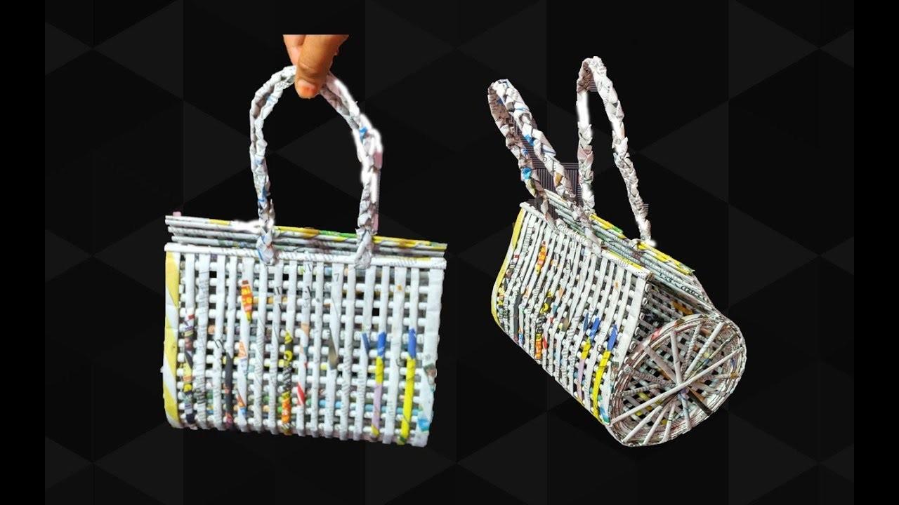 How to make a bag using newspaper | Newspaper Purse | Art with Neha 99