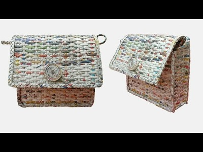 How To Make A Ladies Purse.Bag with Newspaper and Fevicol (Unique 2)