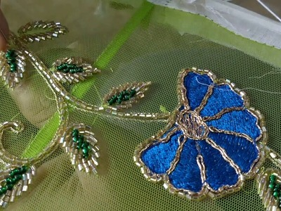 How to make a leaf using cylindrical beads embroidery