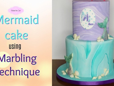 How to make a Marble cake for a Mermaid inspired theme  cake