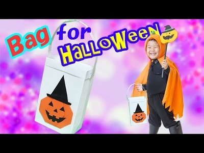 How to Make a Paper Halloween Bag for Trick-or-Treating    Origami bag for Kids Halloween Craft