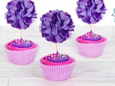 How to make a Paper Pom Pom Cupcake Topper