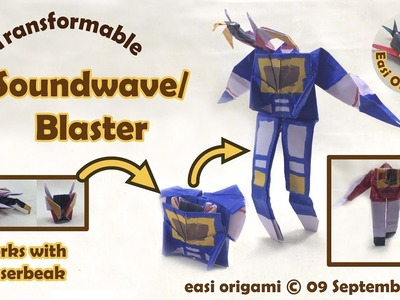 How to make a Papercraft, Origami Soundwave. Blaster (requires 1 straight cut)