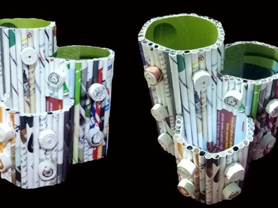 How to make a Pen Stand. Organizer From Newspaper