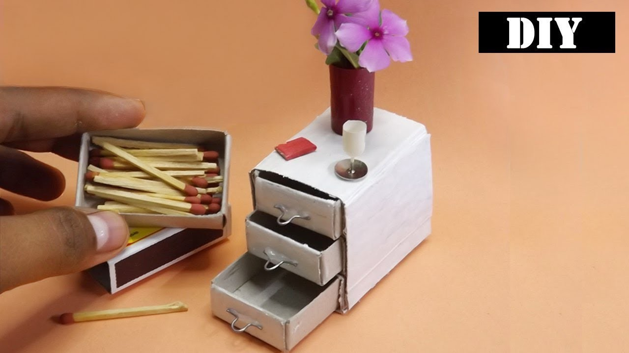 How to make Bedside Table (Drawer)  | Easy Miniature Furniture DIY